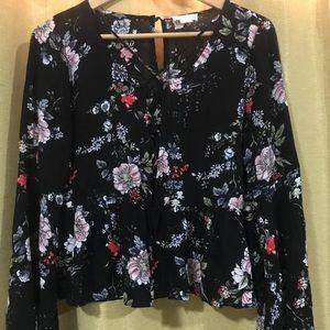 Black Floral Ivy & Main Top size M